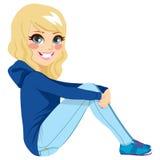 Sitting Teenager Blonde Girl. Beautiful blonde teenager girl sitting on floor white background stock illustration