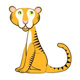 Sitting Tiger Cartoon Stock Image