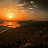 Sunset in Croatia. Sitting on top of hill watching Croatian sunset Stock Photography