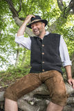 Sitting traditional Bavarian man Royalty Free Stock Photography