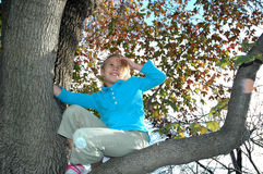 Sitting in a tree. An eight year old girl climbs up in a tree. A girl exploring and having fun outside in nature. Happy child in a tree Stock Photography