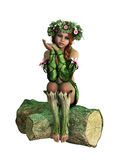 Sitting on a Tree Stump, 3d Computer Graphics Royalty Free Stock Photography