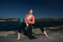 Sitting, Vacation, Sea, Water Royalty Free Stock Images