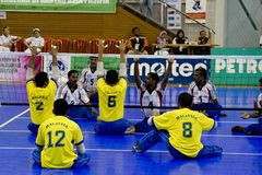 Sitting Volleyball for the Disabled Stock Images