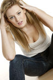Sitting woman Stock Images