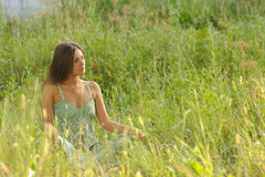 Sitting woman Royalty Free Stock Photography
