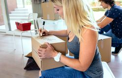 Sitting woman labeling moving boxes. Sitting women labeling moving boxes while her husband prepares boxes Royalty Free Stock Image
