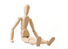 Sitting wooden dummy Stock Photo