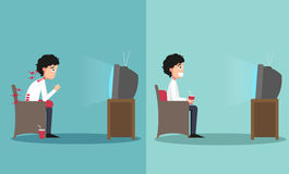 Sitting in wrong and right ways for watching tv. The sample of the guy sitting in wrong and right ways for watching tv, illustration Stock Images