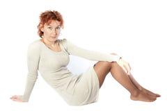 Sitting young beautiful woman Stock Photo