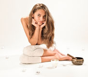 Sitting young beautiful woman SPA relaxing Stock Photos