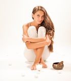 Sitting young beautiful woman SPA relaxing Royalty Free Stock Photos
