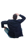 Sitting young man looking afar. Rear view. Stock Images