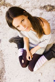 Sitting young woman Royalty Free Stock Photography