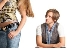 Sittng men looks at woman bottom Stock Photos