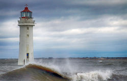 Sittpinnen för stormigt väder vaggar fyren Arkivfoto