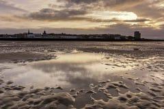 Sittpinnen vaggar fyren nya Brighton Wirral England UK Arkivfoto