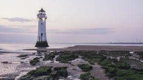 Sittpinnen vaggar fyren nya Brighton Wirral England UK Royaltyfria Bilder