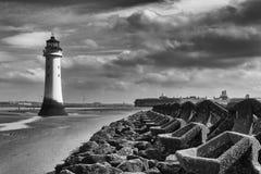 Sittpinnen vaggar fyren wirral UK Merseyside Arkivfoto
