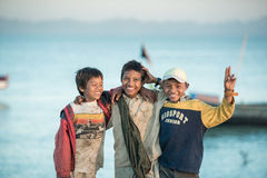 Sittwe, MYANMAR - DEC 11, 2014: Unidentified Burmese boy group s Stock Image