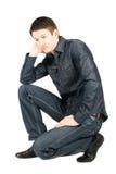 Situação considerável pensativa do homem isolada no branco Imagens de Stock Royalty Free