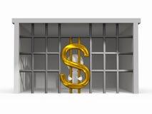 Situação da dificuldade da finança com símbolo do dólar ilustração do vetor