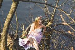 Situação da menina na árvore Imagens de Stock Royalty Free