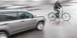 Situação perigosa do tráfego de cidade Imagem de Stock Royalty Free