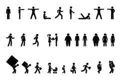 Situações diferentes, povos do pictograma, figura jogo de caracteres da vara ilustração do vetor