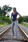 Situación adolescente negra en una cama de ferrocarril Imágenes de archivo libres de regalías
