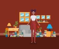 Situación afro joven de la mujer en el cuarto de la biblioteca stock de ilustración