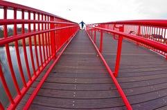 Situación de la chica joven en un puente moderno foto de archivo libre de regalías