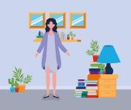 Situación de la mujer joven en el cuarto de la biblioteca stock de ilustración