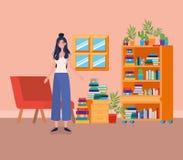 Situación de la mujer joven en el cuarto de la biblioteca libre illustration