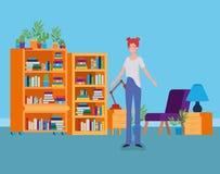 Situación de la mujer joven en el cuarto de la biblioteca ilustración del vector
