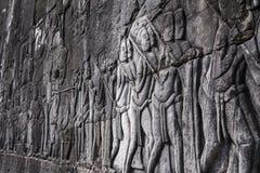 Situación de las tallas de Apsara en la pared del templo de Angkor, herit del mundo Fotografía de archivo libre de regalías