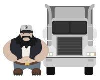 Situación del conductor de camión del estilo de la historieta Ningún esquema Fotografía de archivo libre de regalías
