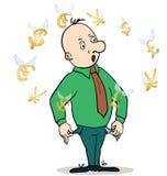 Situación del hombre de negocios, mirando para volar Imagen de archivo libre de regalías