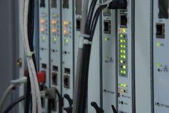 Situación del LED de la conexión de red y de la comunicación de Internet difícilmente Imagen de archivo libre de regalías