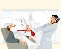 Situación divertida en barbería stock de ilustración