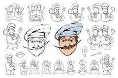 Situación en una diversa actitud, jefe del restaurante, cocinero del cocinero del cocinero de la historieta en el uniforme, logot ilustración del vector