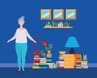 Situación gorda joven de la mujer en el cuarto de la biblioteca libre illustration