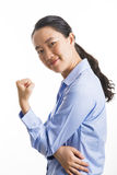 Situación joven de la mujer de negocios aislada en blanco imagen de archivo libre de regalías
