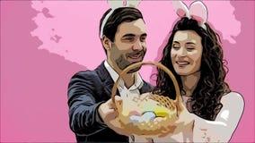 Situación joven de los pares derecha en fondo rosado Con los oídos de un conejito en la cabeza Durante este hombre y su esposa se metrajes