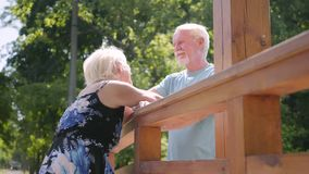 Situación madura feliz de los pares en el puente que habla y que sonríe Mujer mayor hermosa en vestido del verano y hombre barbud almacen de metraje de vídeo