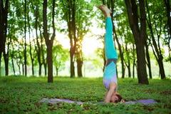 Situación morena fina de la muchacha en el ejercicio del headstand, actitud del sirsasana del salamba en un parque del verano en  fotografía de archivo