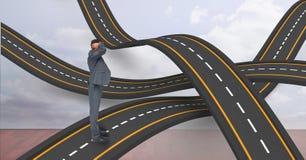 Situación profesional masculina en los caminos ondulados Imagenes de archivo