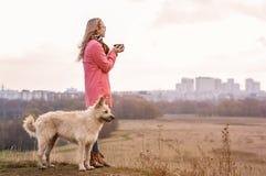 Situaci?n hermosa de la muchacha en el top de una colina con un perro blanco grande y de mirar la ciudad en la luz del sol fotografía de archivo