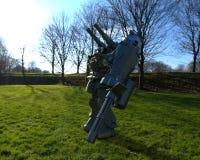 Situaci?n mech del soldado de la ciencia ficci?n en un fondo del paisaje Robot futurista militar con un verde y un metal gris del stock de ilustración