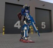 Situaci?n mech del soldado de la ciencia ficci?n en un fondo del paisaje Robot futurista militar con un verde y un metal gris del libre illustration